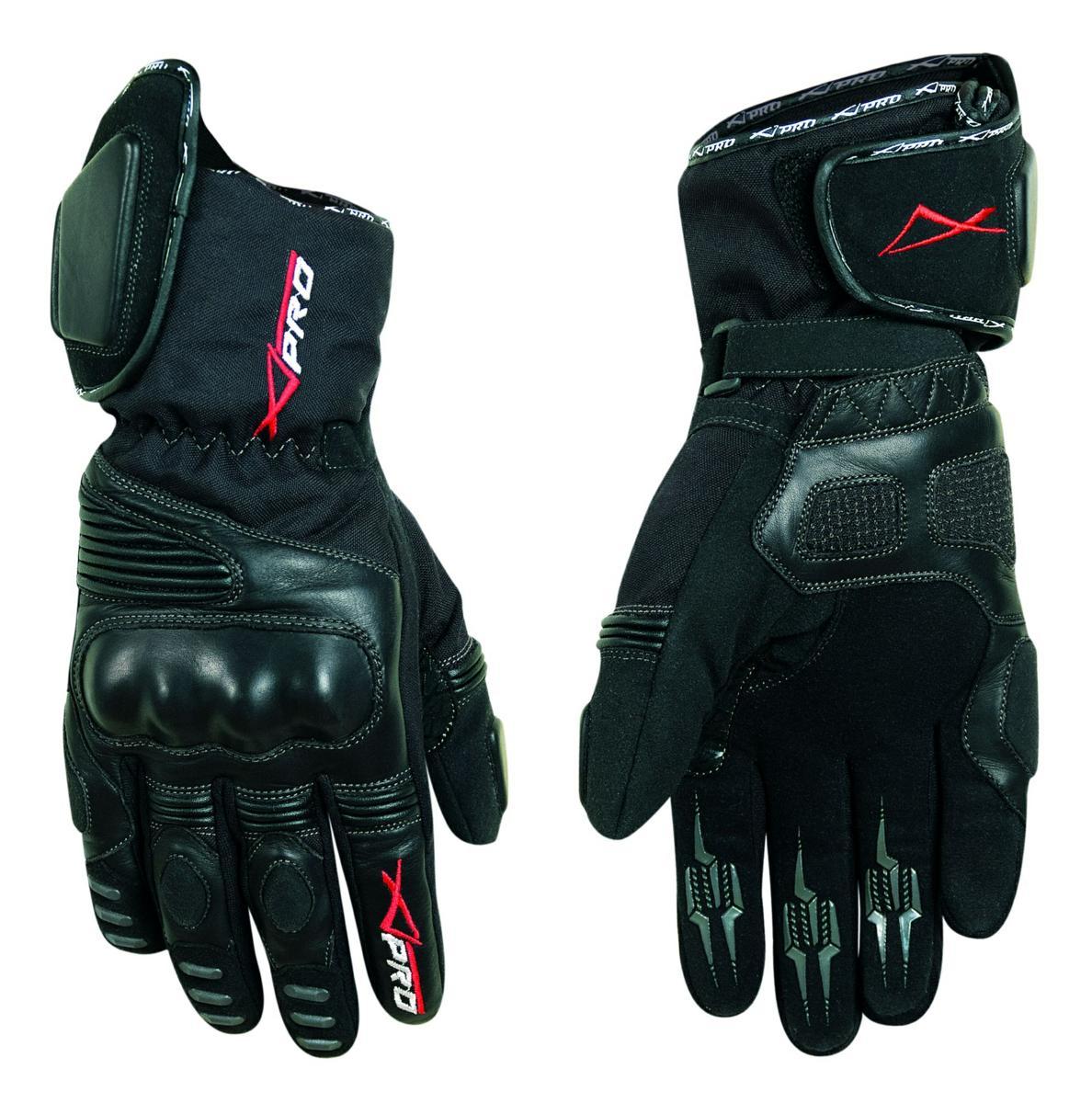 Gants-Motard-Moto-Cuir-Textile-Tissu-Thermique-Protections-Impermeable-Etanche miniature 4