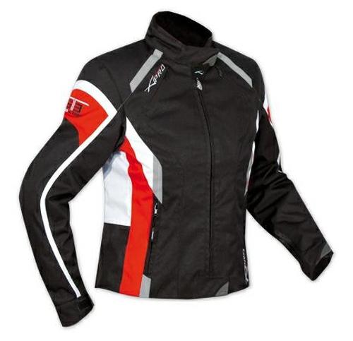 Blouson-Femme-Textile-Moto-Protections-CE-Impermeable-Thermique-Blanc-Rouge