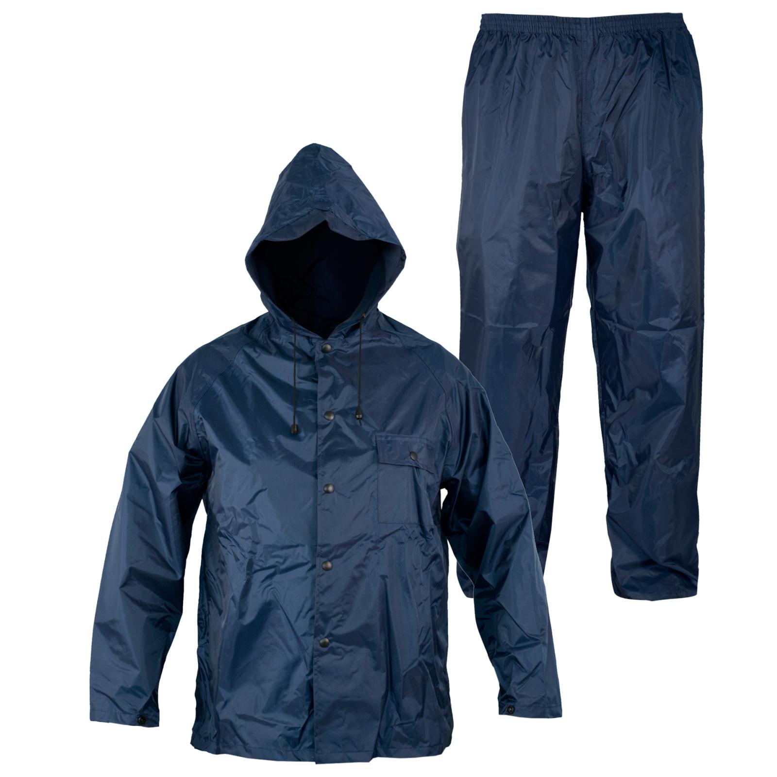 Rainsuit Impermeable Pantalon Chaqueta hombres señoras Capucha Traje lluvia  Azul  93d82793e08