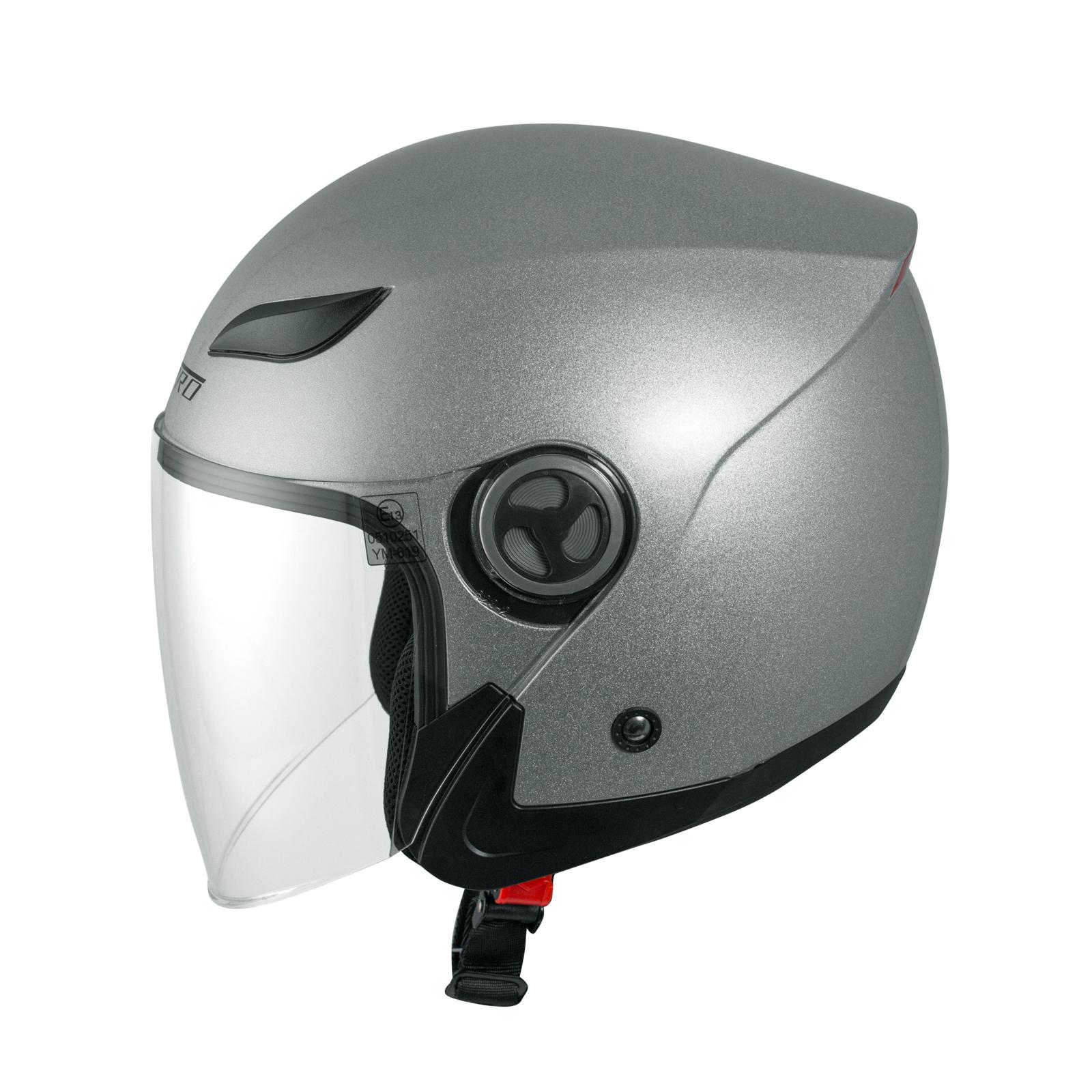 Casco-Jet-Visiera-Lunga-Scooter-Moto-Quad-Omologato-ECE-22-05-Argento