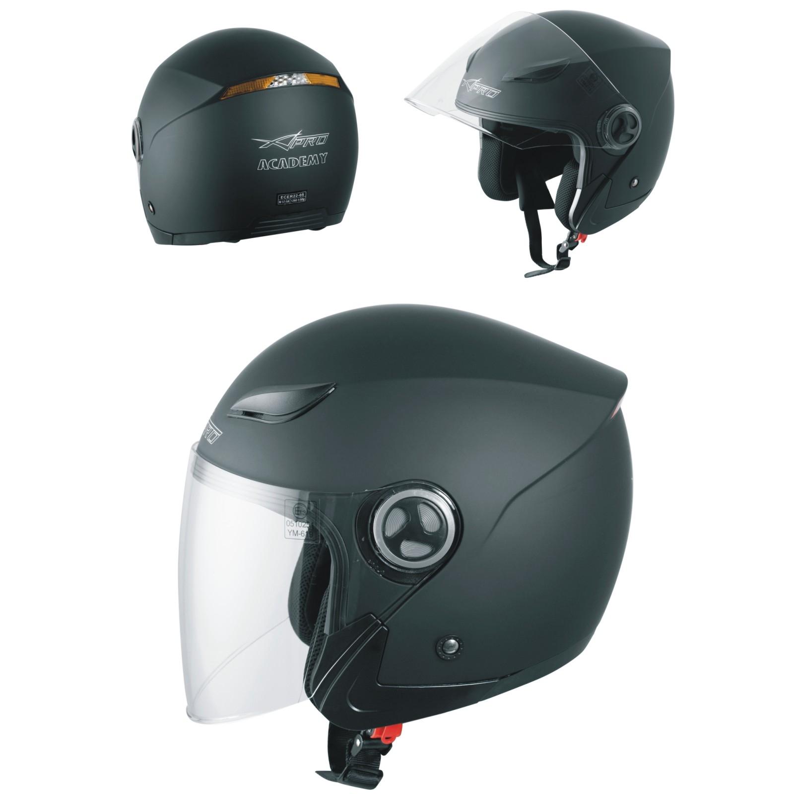 Casco-Jet-Visiera-Scooter-Moto-Quad-Omologato-ECE-22-05-Nero-Satinato