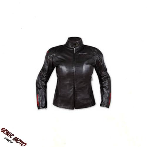 Ladies Leather Jacket Motorcycle Apparel CE Armored Thermal Liner Black