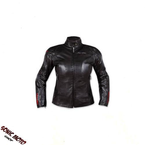 Giacca-Pelle-Donna-Moto-Lady-Protezioni-CE-Fodera-termica-Custom-Moda-Nero