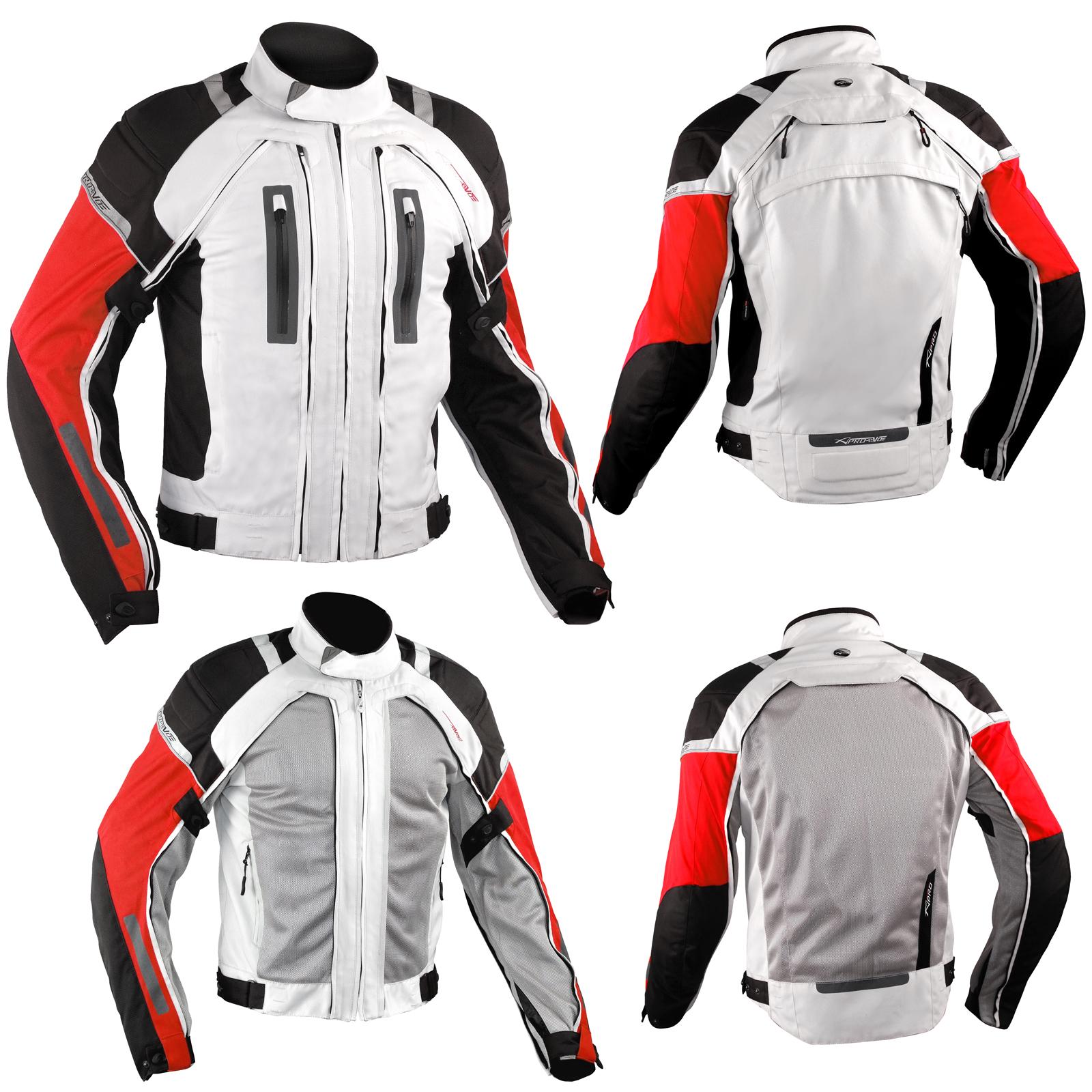 Chaqueta-de-la-Moto-de-Cordura-malla-protectores-impermeable-4-capas-Blanco-Rojo