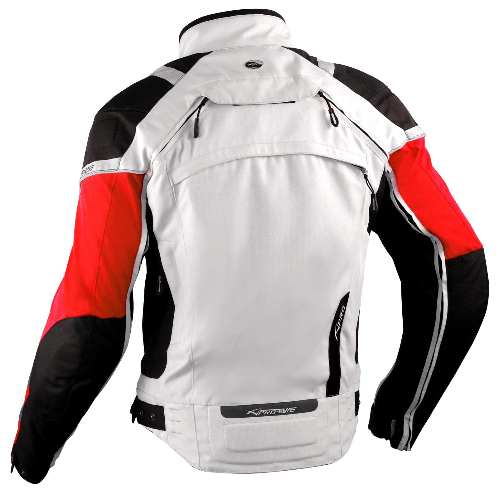 Giacca-Moto-Tessuto-Cordura-Mesh-Protezioni-CE-Impermeabile-4-Stagioni-Bianco