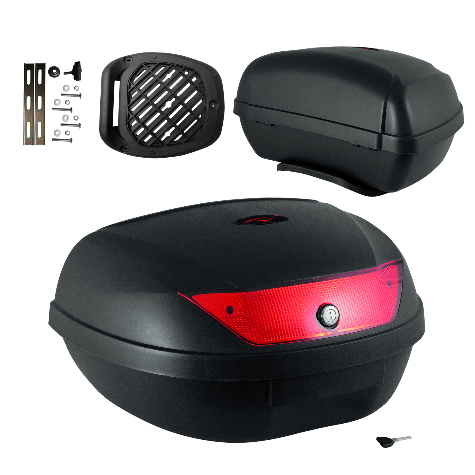 universal top box case luggage 48 lt two helmets motorcycle scooter ebay. Black Bedroom Furniture Sets. Home Design Ideas