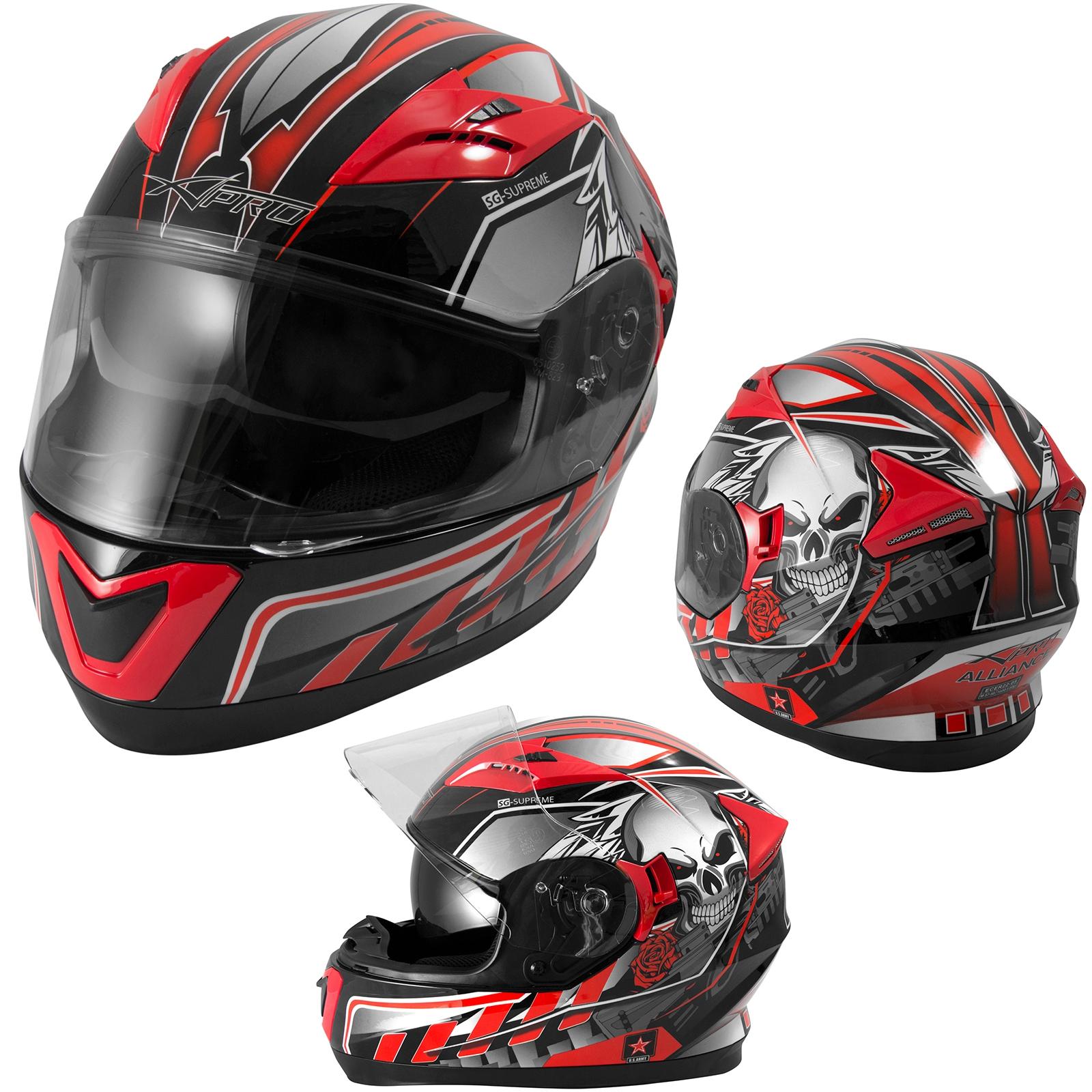 Casco-Integrale-ECE-22-05-Moto-Scooter-Visiera-Parasole-Grafica-Rosso
