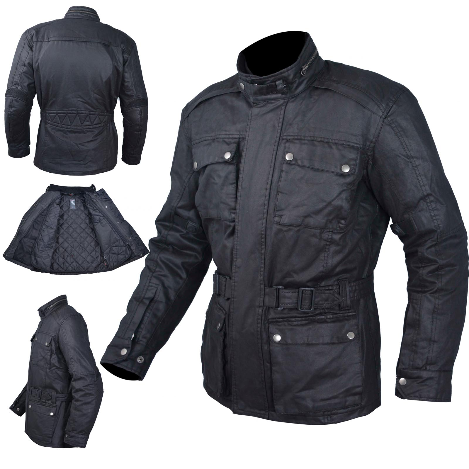 Waxed Jacket Textile Motorcycle Motorbike Warm Armour Ce