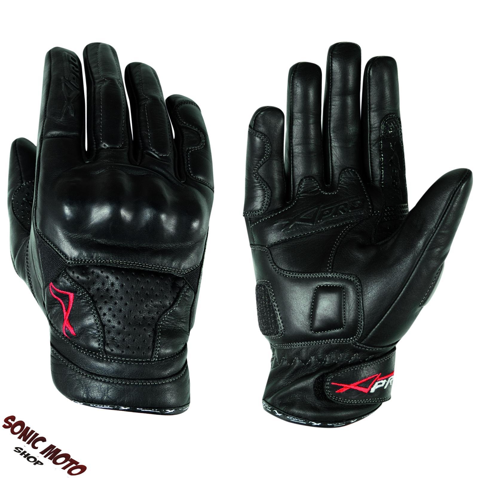 Guanti-pelle-moto-con-protezioni-protezioni-sport-custom-tourg-A-Pro-Nero