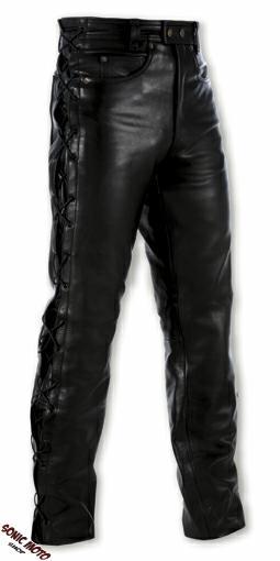 Jeans-Pantalon-Cuir-Custom-Biker-Moto-Poches-Protections-Genoux-Lacets-A-Pro