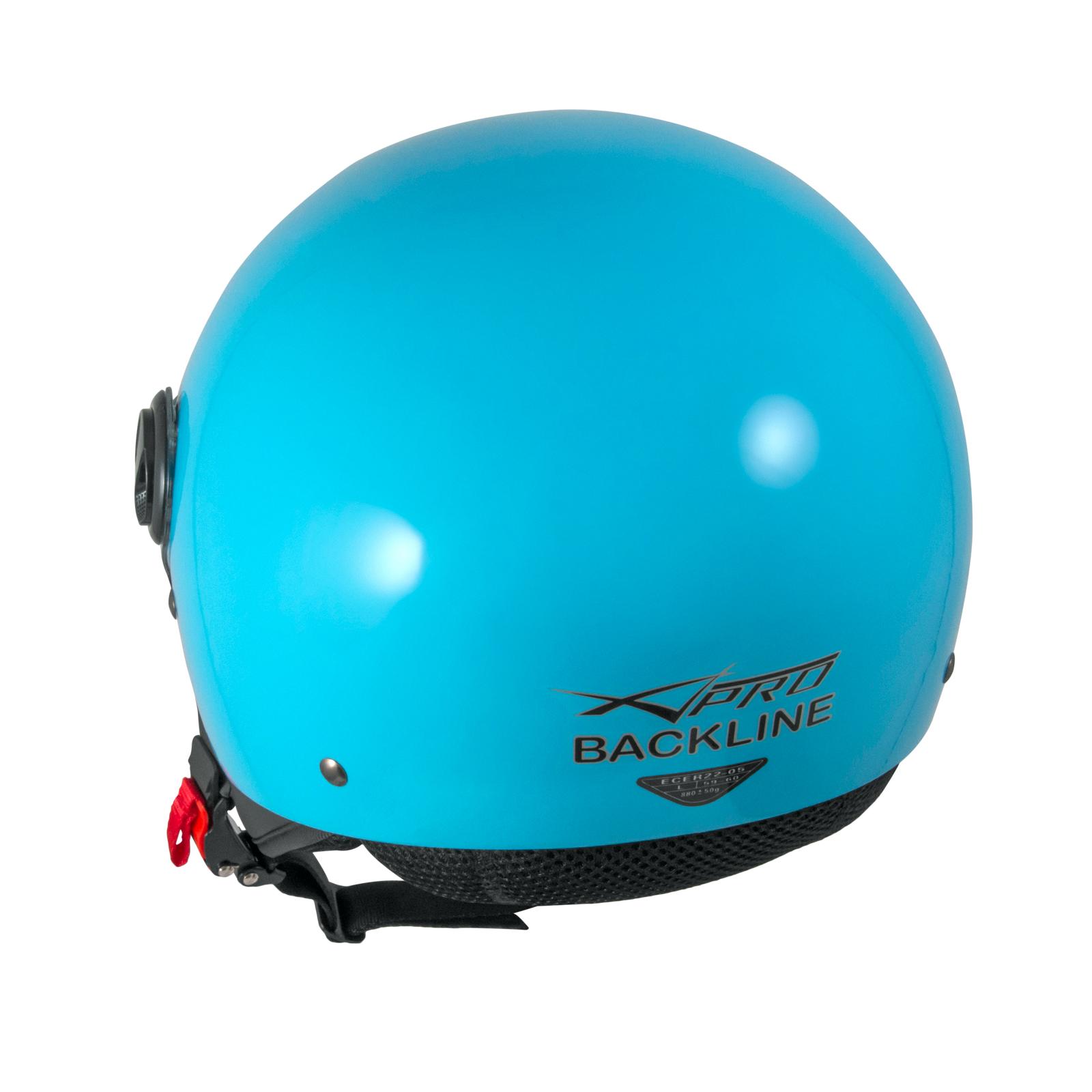 Open Face Jet Helmet Lid Motorbike Scooter Quad Visor Graphics Light Blue A-PRO