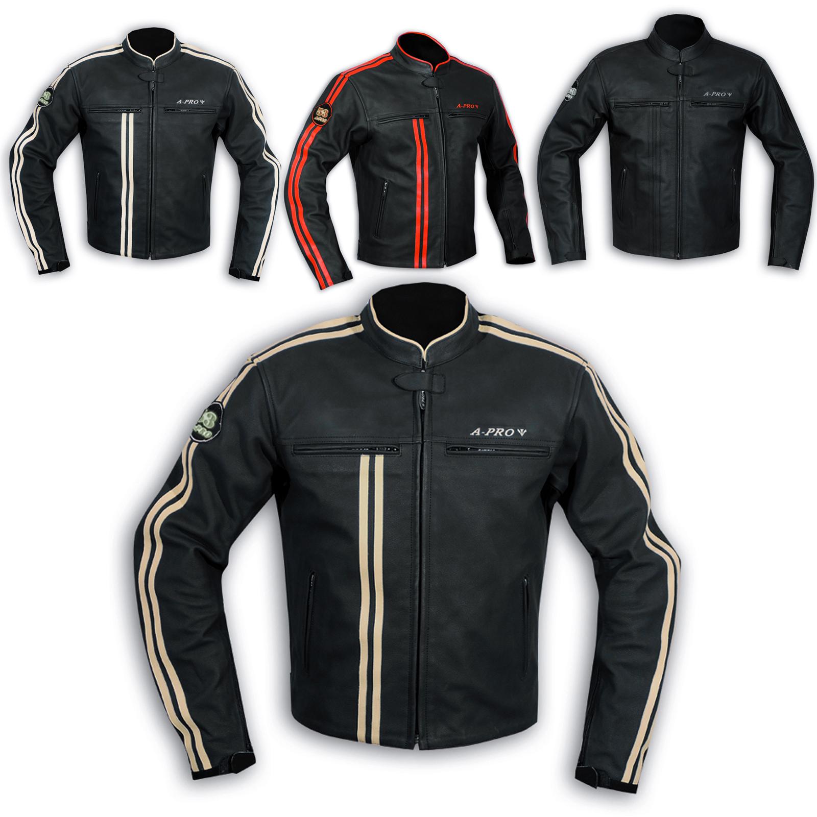 blouson cuir homme motard moto protections ce veste doublure thermique ebay. Black Bedroom Furniture Sets. Home Design Ideas