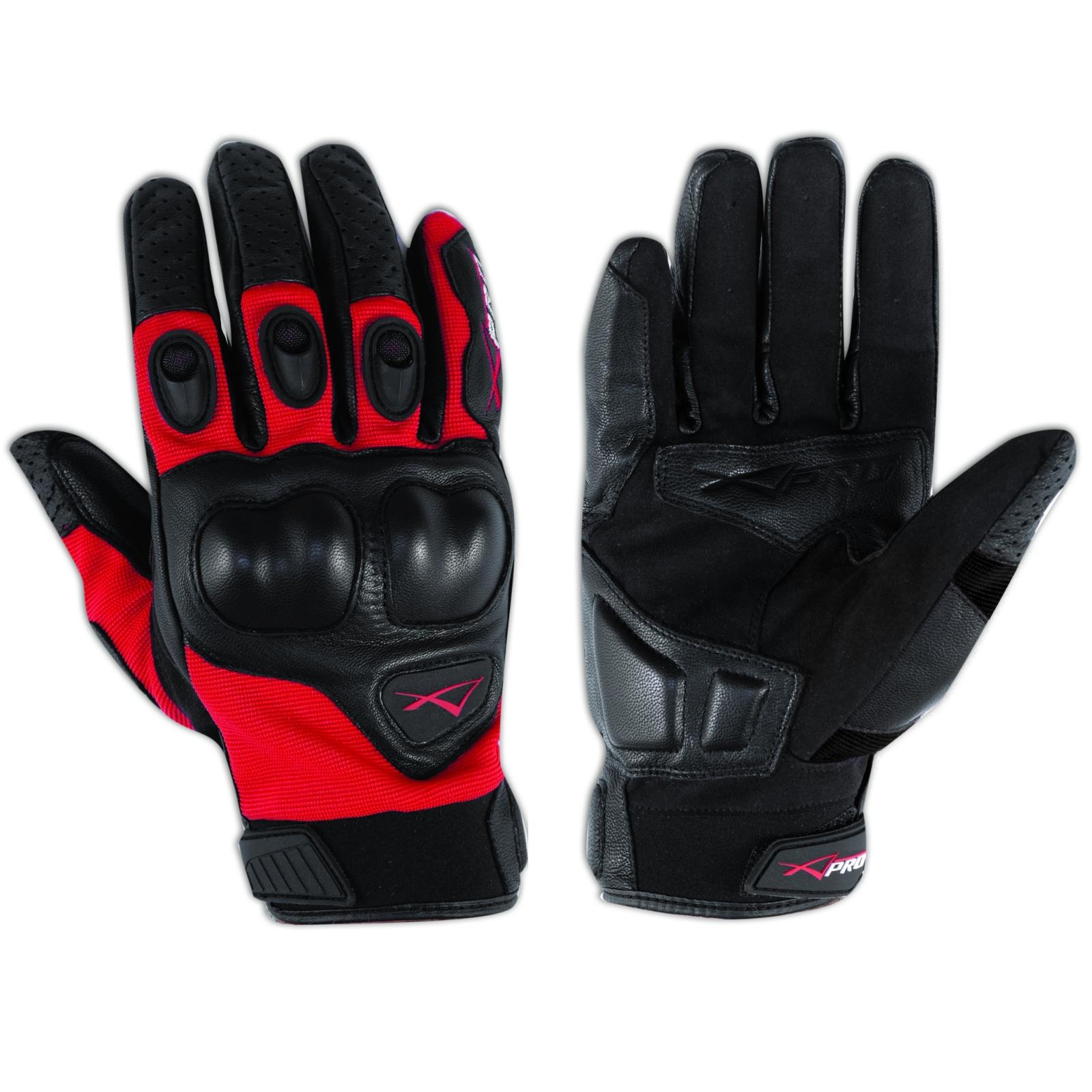 Guanto-Moto-Pelle-Tessuto-Protezione-Nocche-Corto-Estivo-Offroad-Cross-Rosso