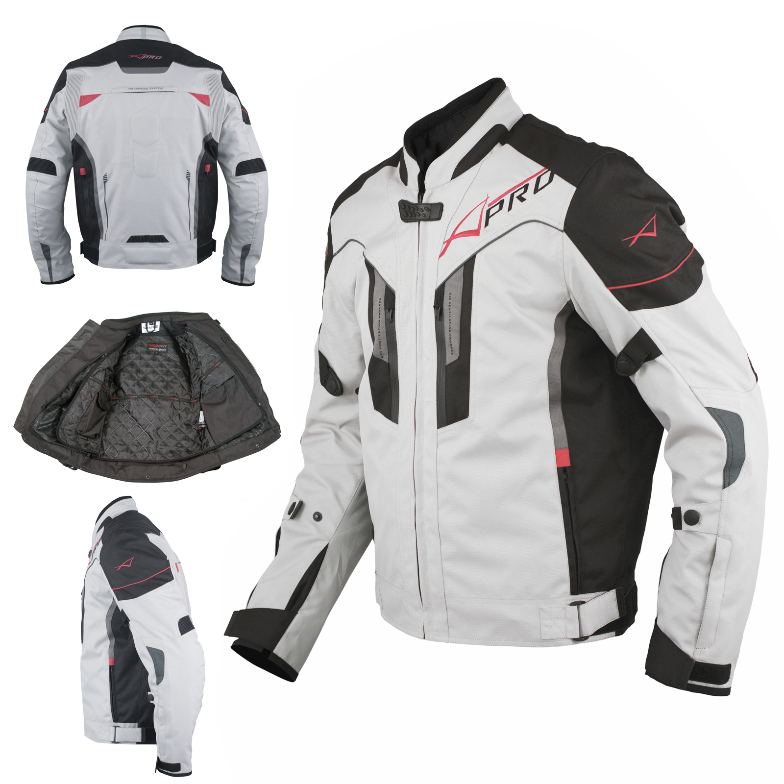 textile blouson moto protections ce respirant r fl chissant gris ebay. Black Bedroom Furniture Sets. Home Design Ideas