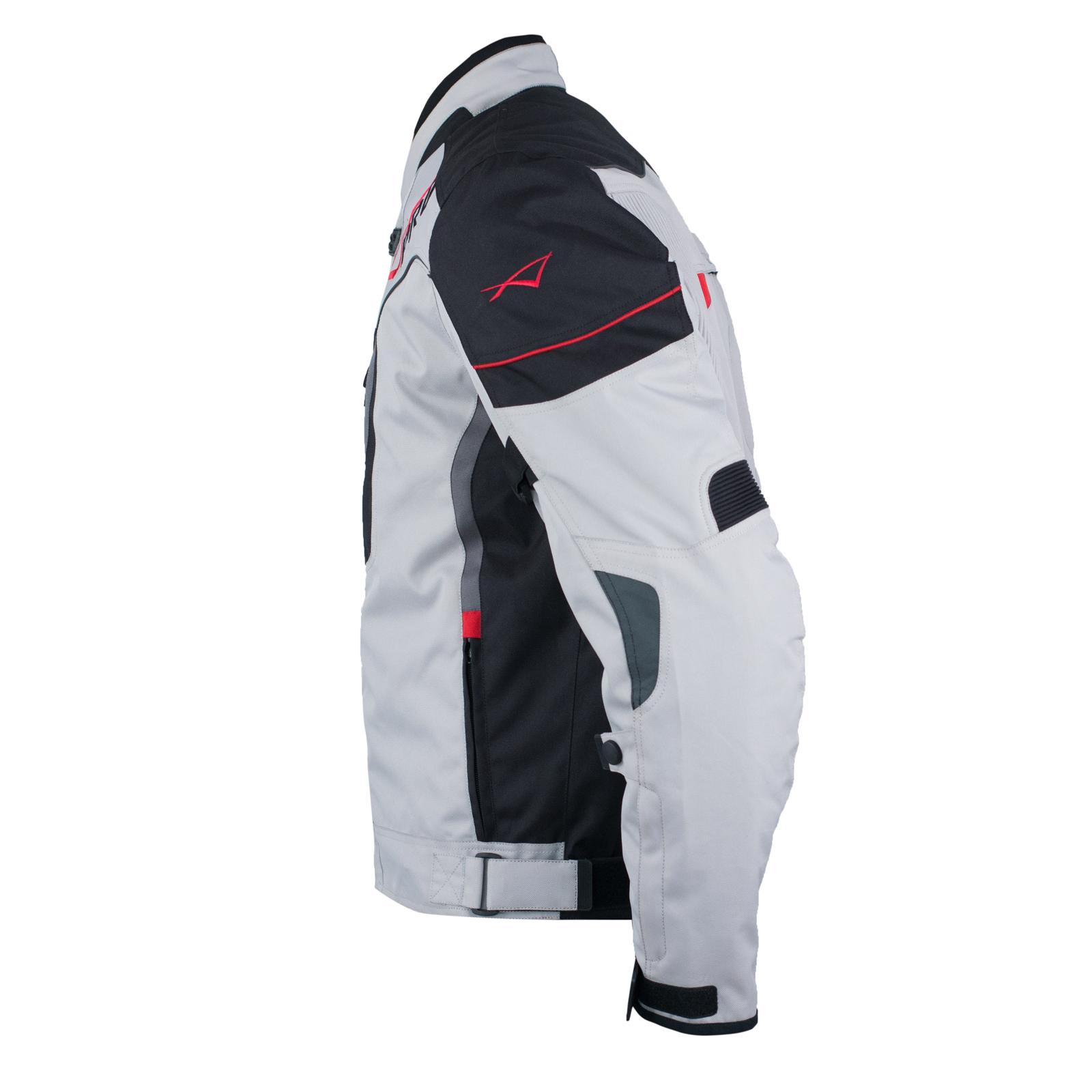 Textile-Blouson-Moto-Protections-CE-Respirant-Reflechissant-Gris miniature 8