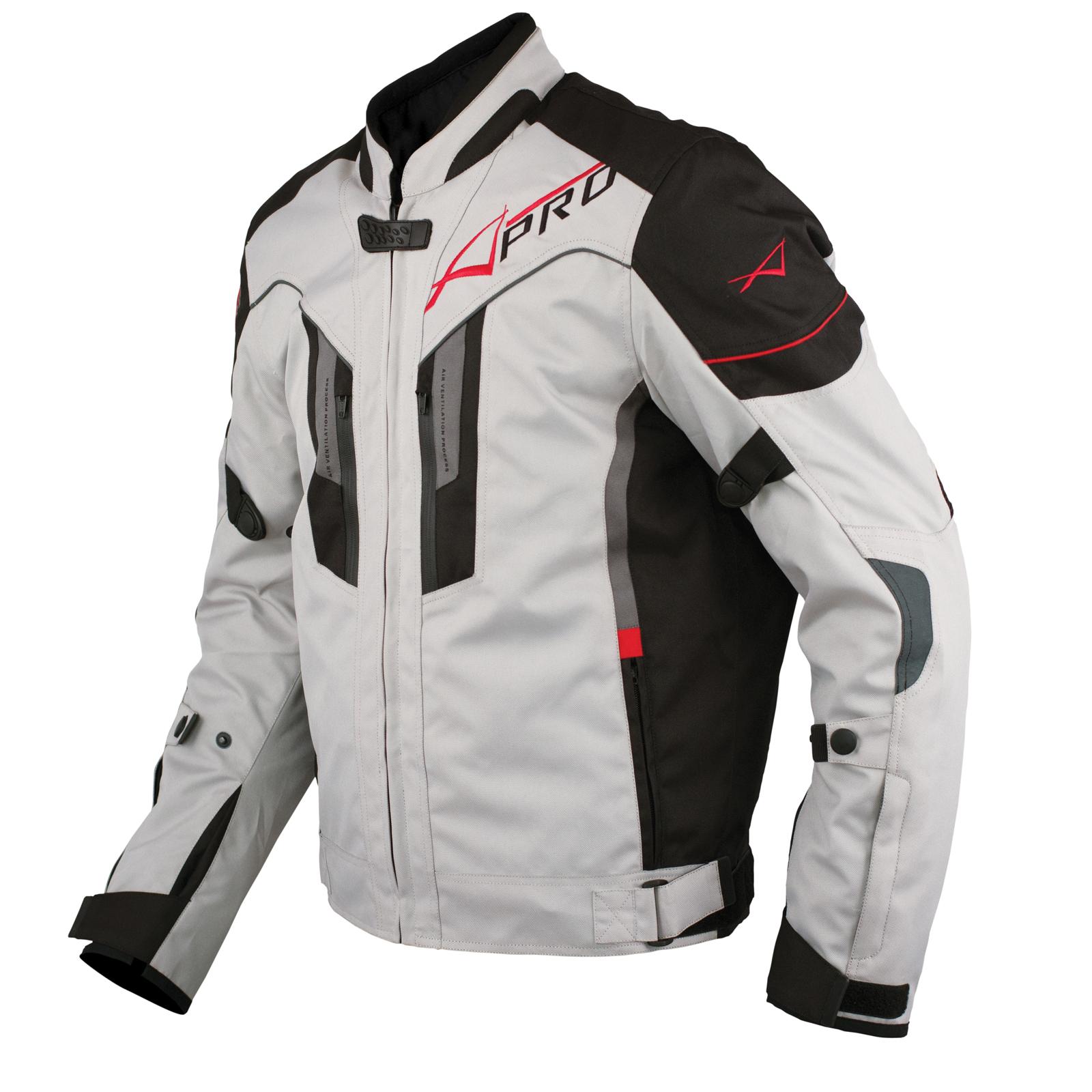 Textile-Blouson-Moto-Protections-CE-Respirant-Reflechissant-Gris miniature 7