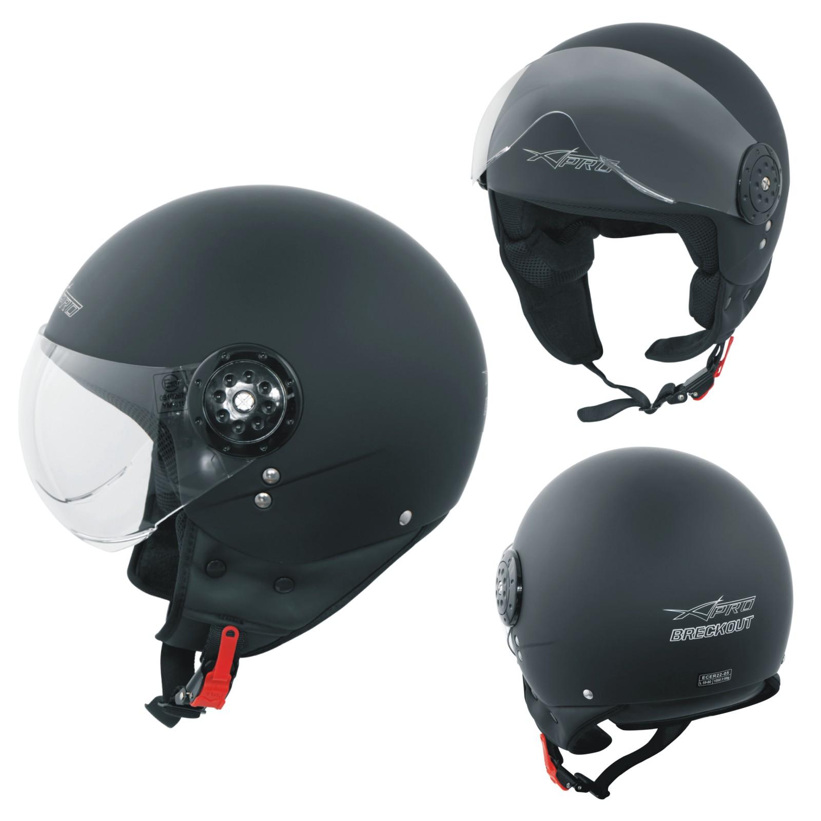 Scooter-Casque-Moto-Ville-Jet-Demi-Anti-Scratch-Avio-Visiere-noir-mat
