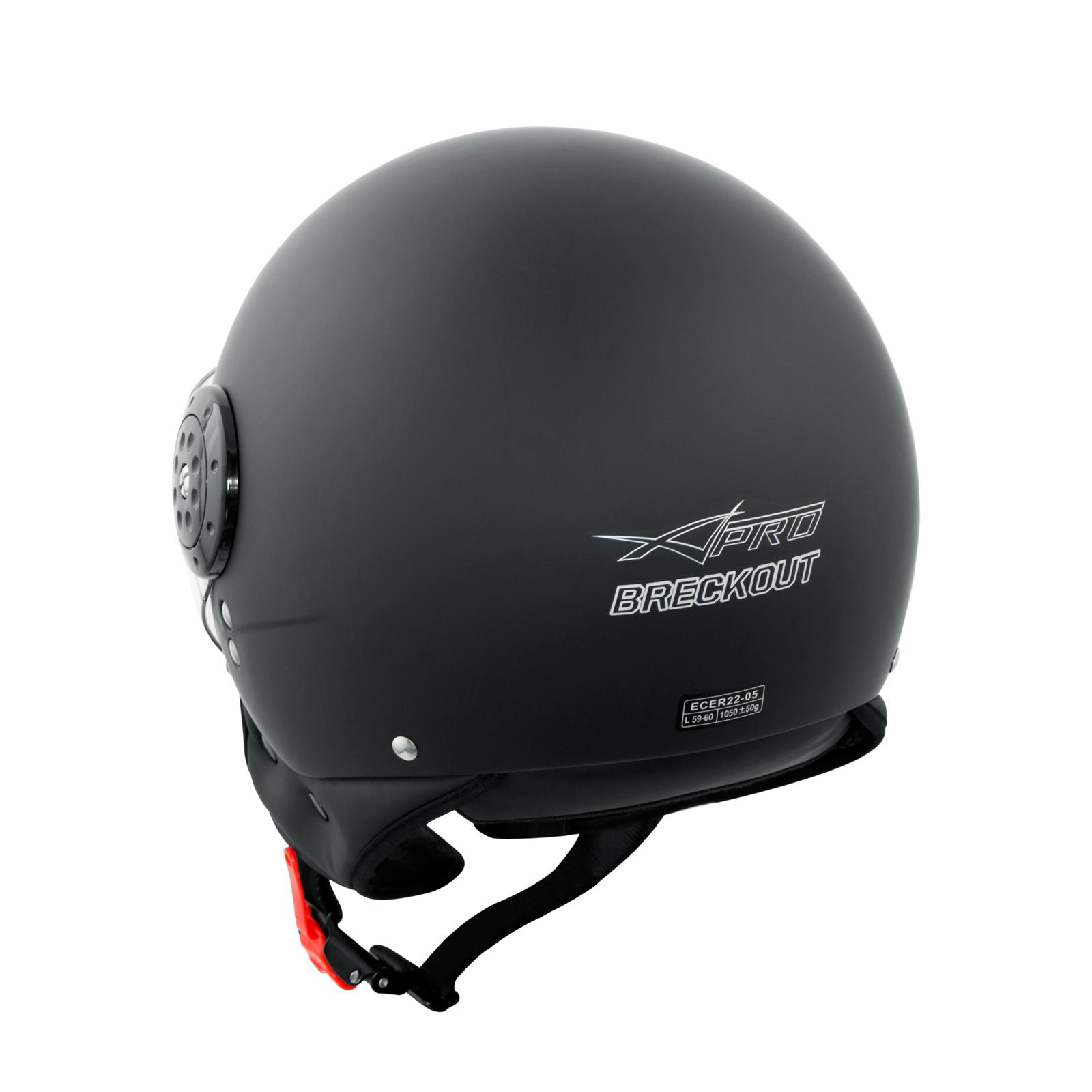 Scooter-Moto-Casco-Jet-Demi-Omologato-ECE-22-05-Visiera-Avio-Nero-Opaco