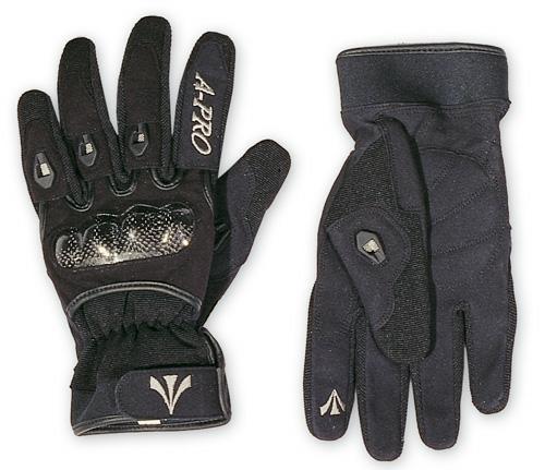 Guanto-Moto-Tessuto-Tecnico-Corto-Protezioni-Carbonio-Traspirante-Prese-Aria