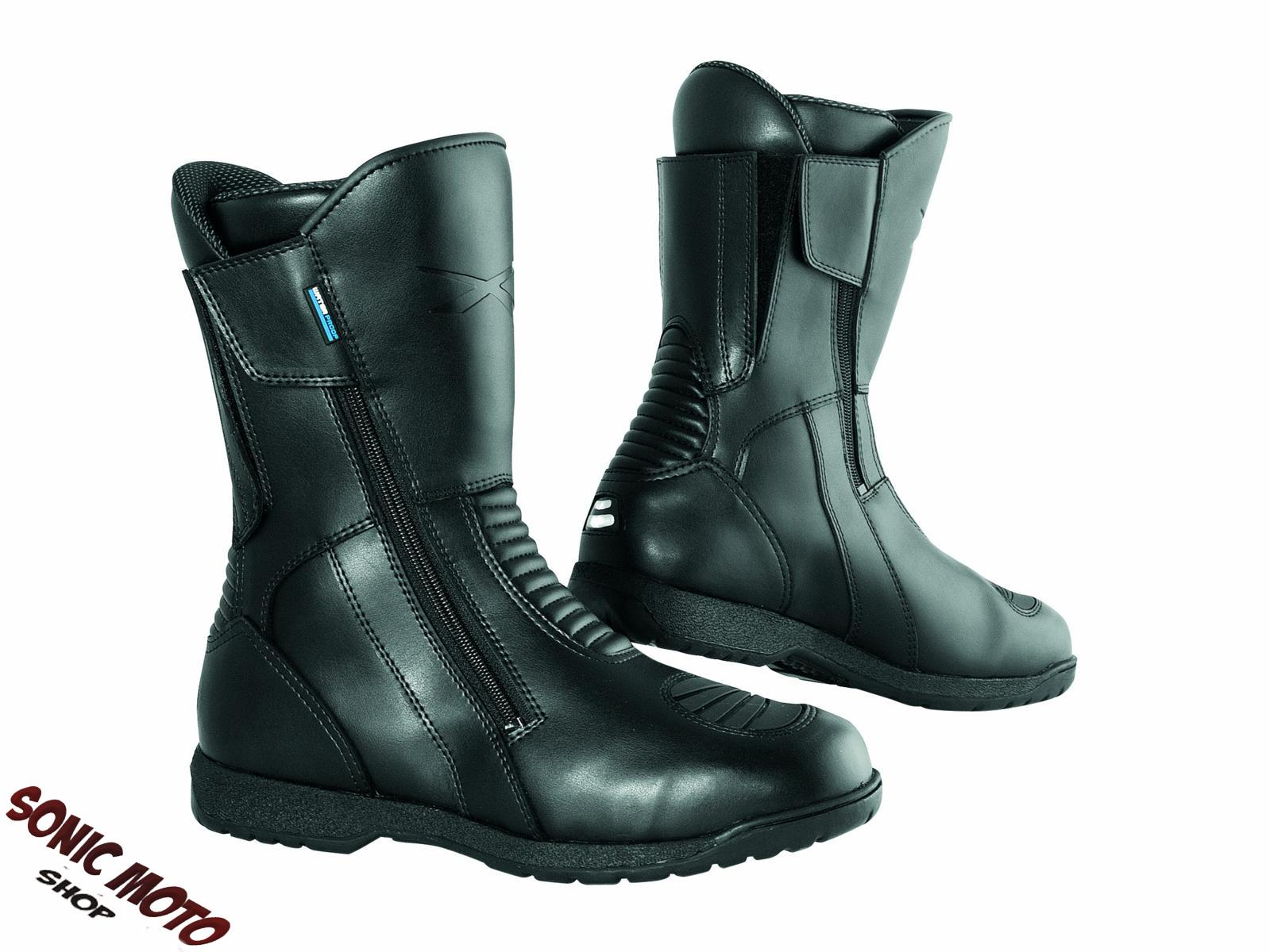 bottes motard cuir moto piste scooter impermeable custom homme chaussures ebay. Black Bedroom Furniture Sets. Home Design Ideas