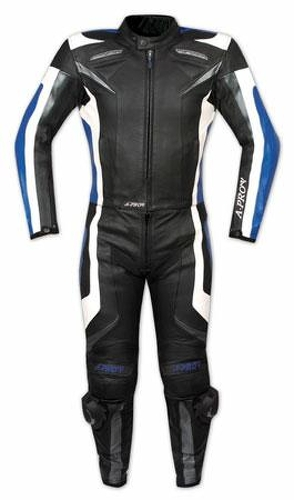 Tuta-Pelle-Moto-Racing-Pista-Sport-2-Pezzi-Divisibile-Spezzato-Prese-Aria-Blu