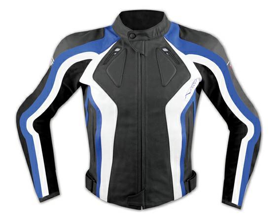 Giacca-Donna-Lady-Moto-Pelle-Protezioni-Omologate-CE-Rinforzo-Schiena-Blu