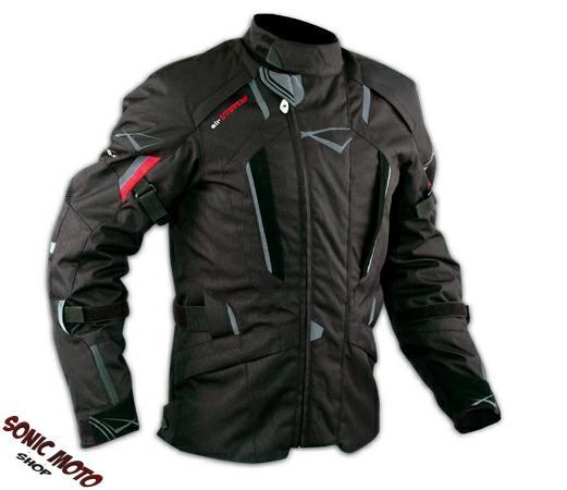 Giacca-Touring-Moto-Cordura-Tessuto-Protezioni-CE-Impermeabile-Nero