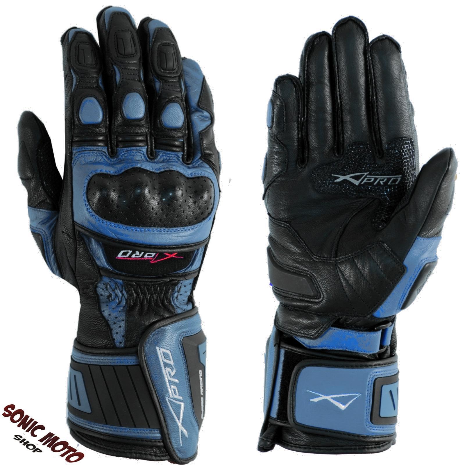 Guantes-Track-Racing-Sport-Protecciones-Tecnico-Profesional-Piel-Moto-Azul