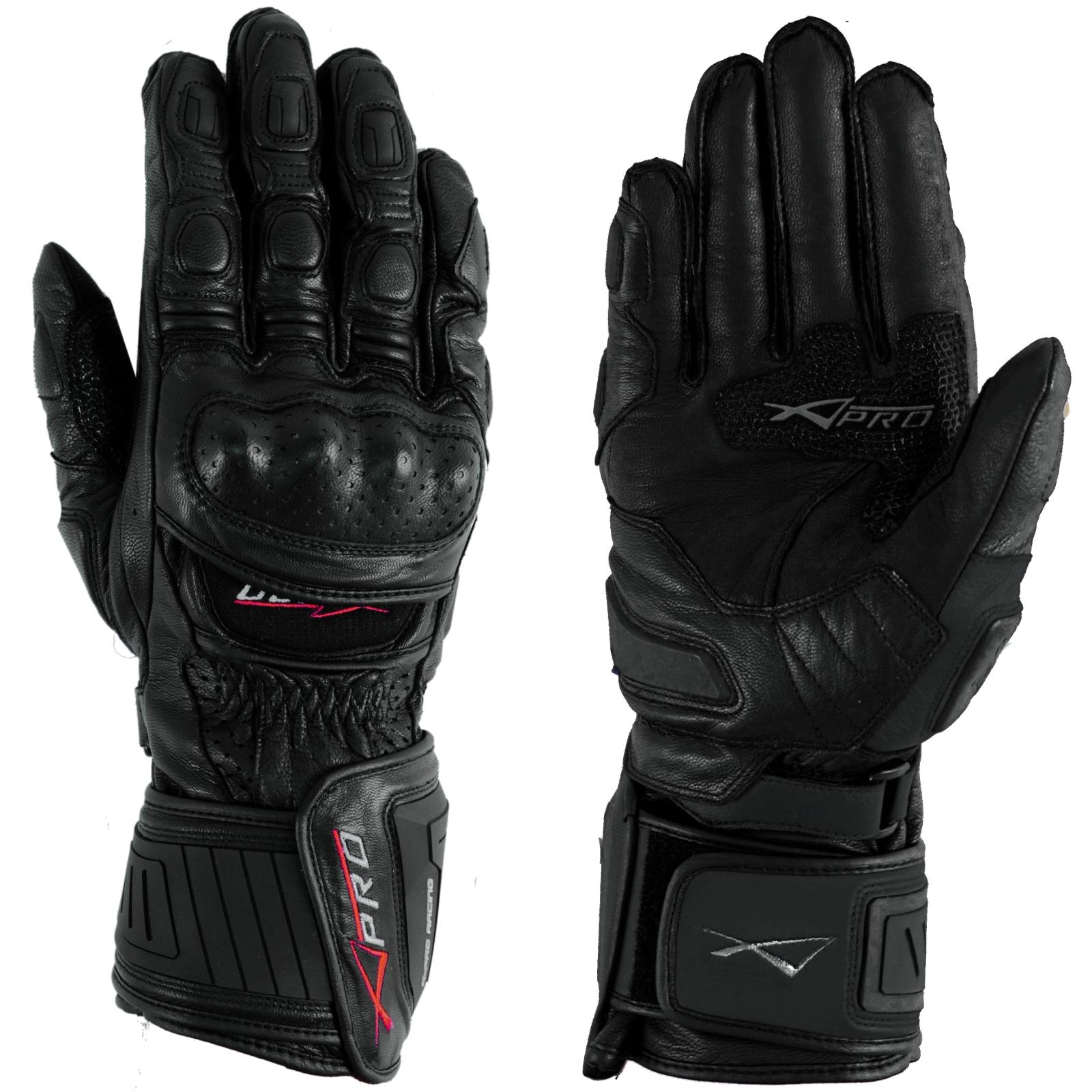 Guanto-Pista-Racing-Sport-Protezioni-Tecnico-Professionali-Pelle-Moto-A-pro-Nero
