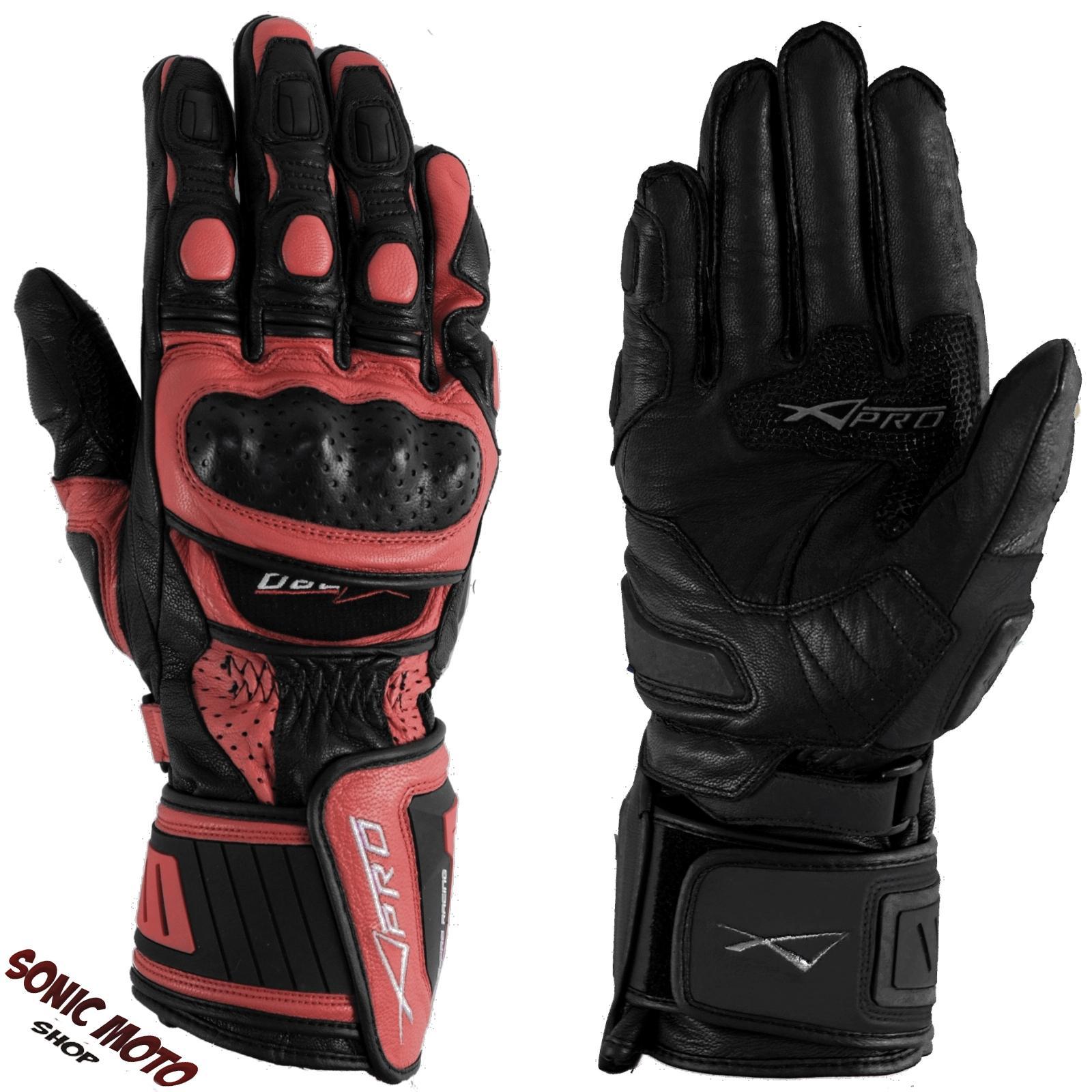 Guanto-Pista-Racing-Sport-Protezioni-Tecnico-Professionali-Pelle-Moto-Rosso