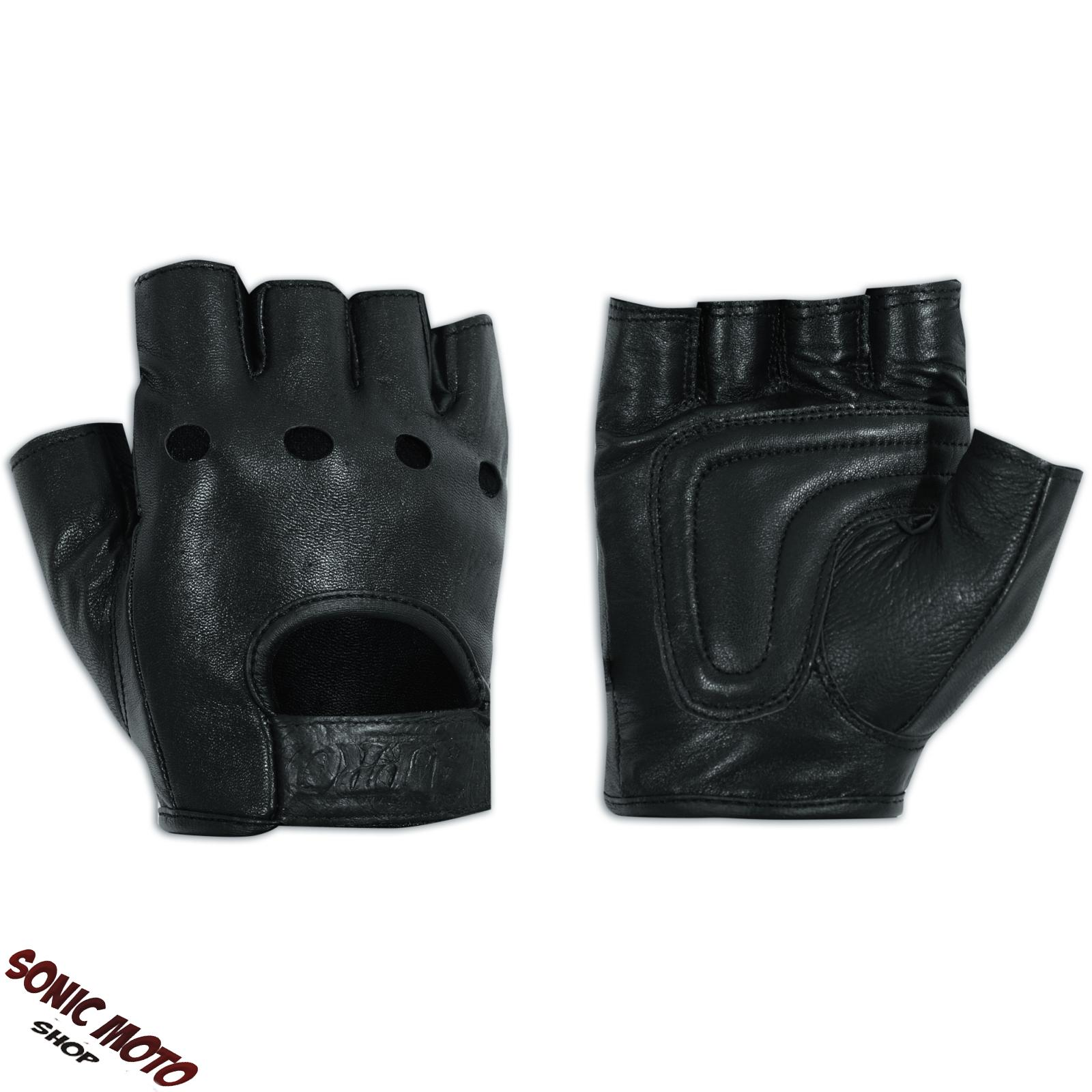 Fingerless Biker Gloves Soft leather Cowhide Apparel Punk ...
