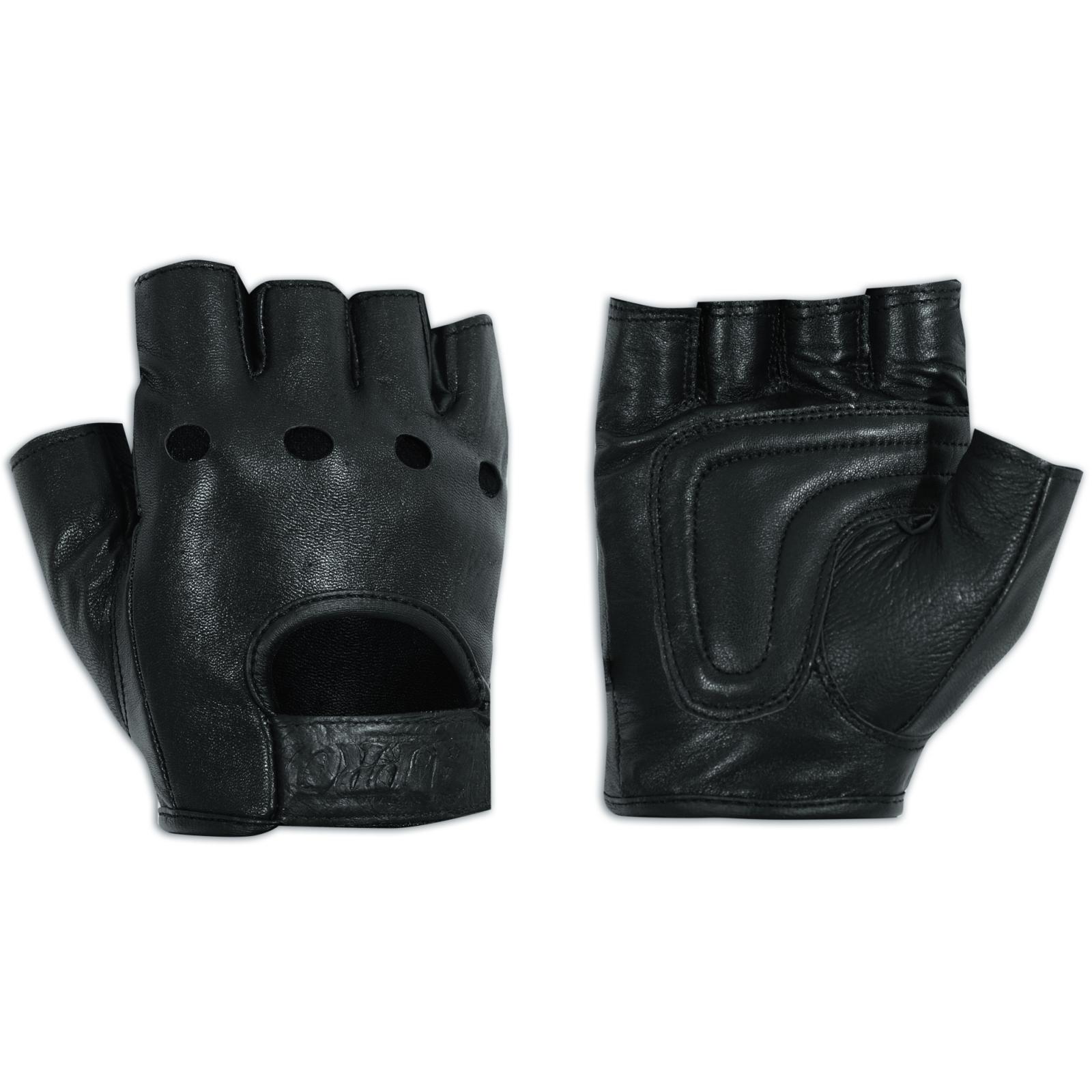 Fingerless Biker Gloves Soft leather Cowhide Motorbike ...