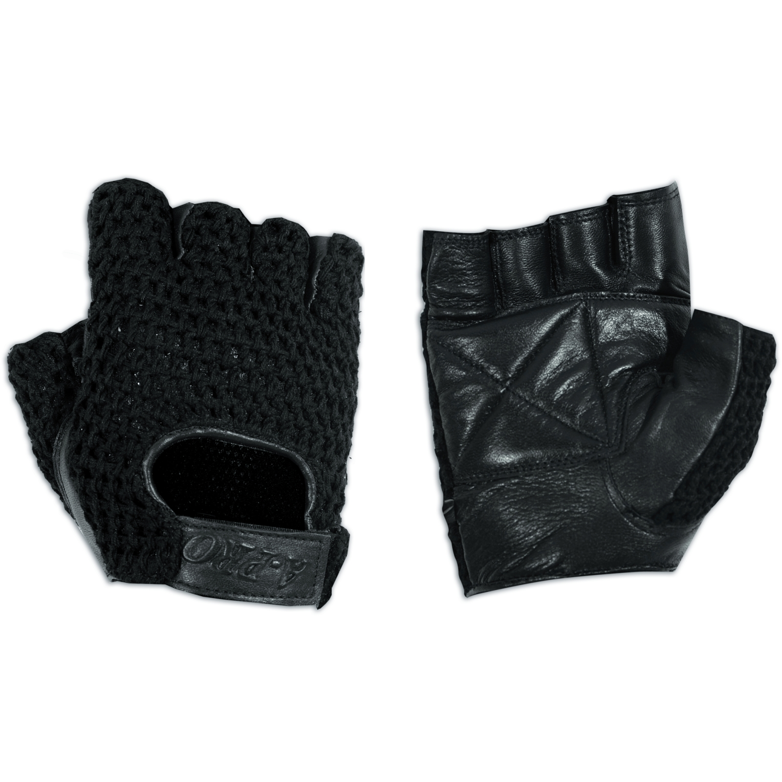 Fingerless Biker Gloves Soft Net leather Cowhide Apparel ...