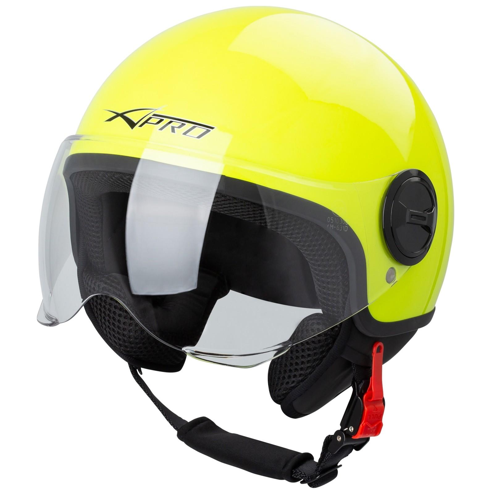 Demi Jet Helmet Moped Motorbike Scooter Visor SonicMoto Fluo XS