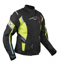 A-Pro Ladies Motorcycle Motorbike Thermal Waterproof Textile Touring Jacket Fluo Sonicmotoshop