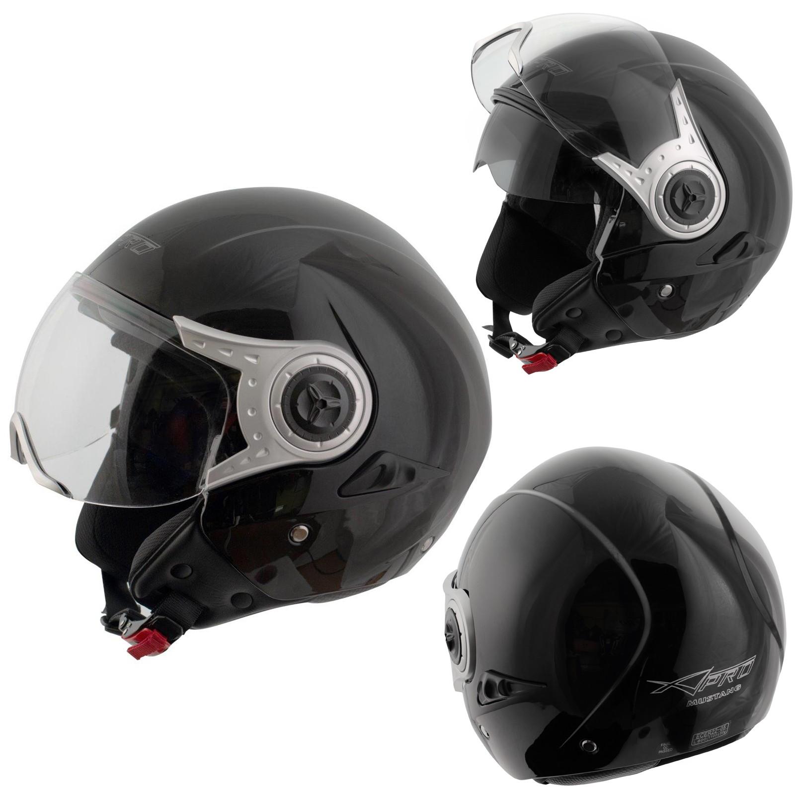 Demi Jet Casque Homologue Moto Scooter Visiere Pare Soleil Noir