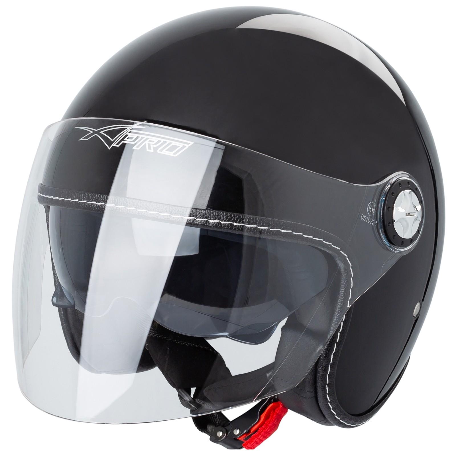 Casque Moto Scooter Jet Double Visiere Pare-Soleil ECE 22 Noir Mat XS