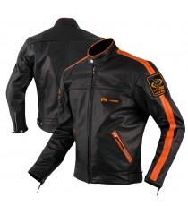 Blouson Cuir A-Pro Protections CE Renfort Dos Doublure Hiver Zip Moto Orange