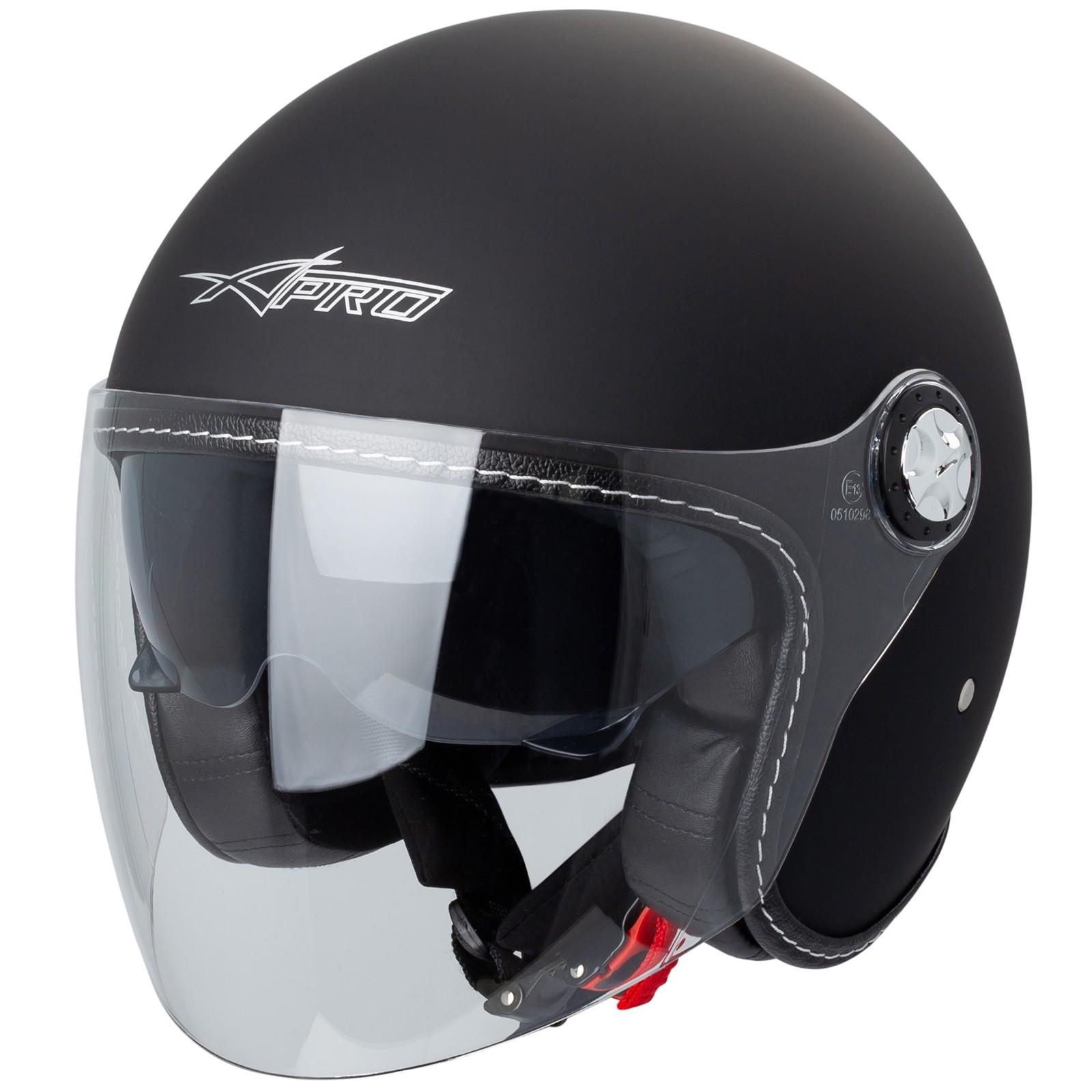 Demi Jet Casque Visi/ère Pare Soleil ECE 22-05 Approuv/é Moto Scooter A-Pro Kinetic Argent XS