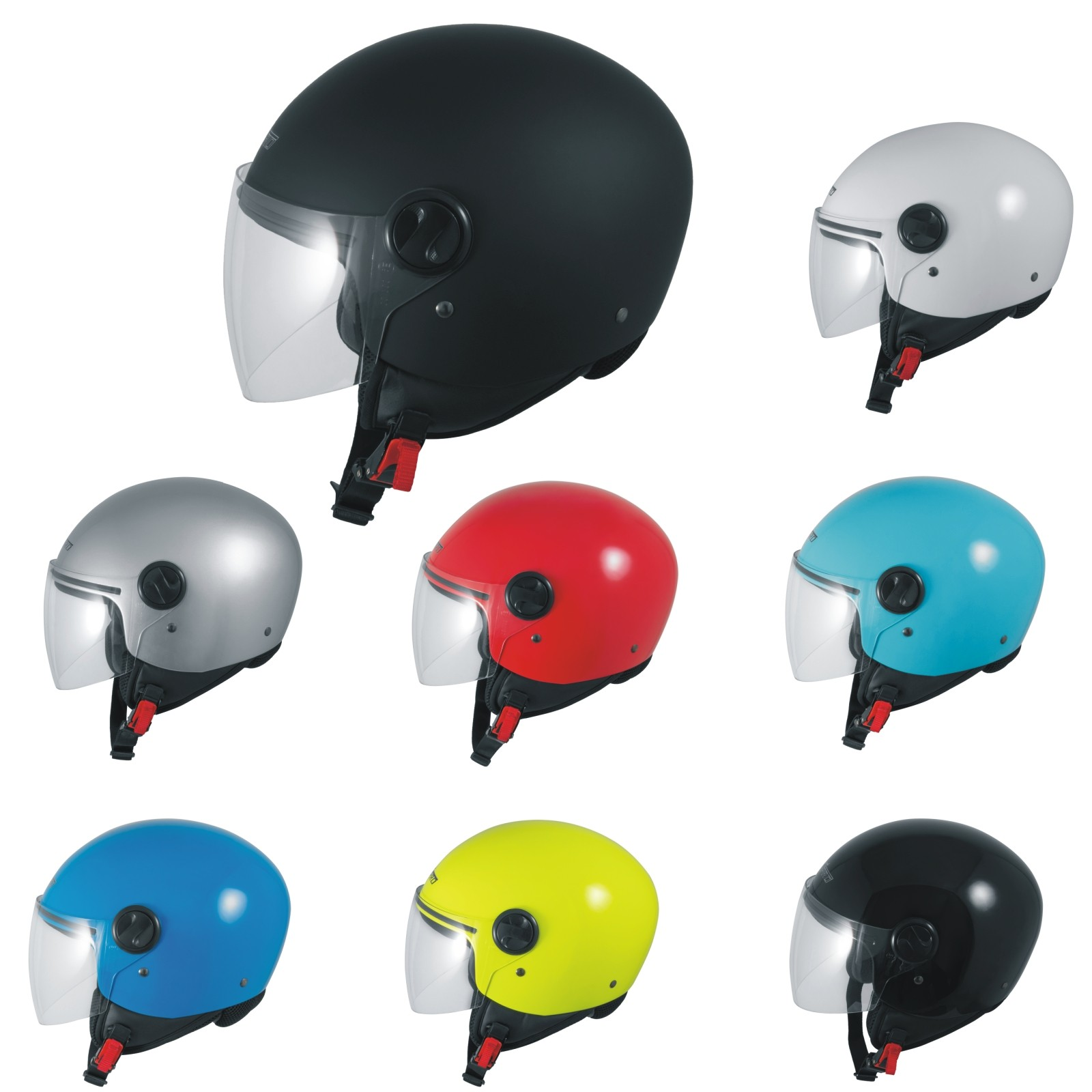 A-Pro Motorradhelm Motorrad Roller Jet Helm Innensonnenblende Viser Schwarz Matt 2XL