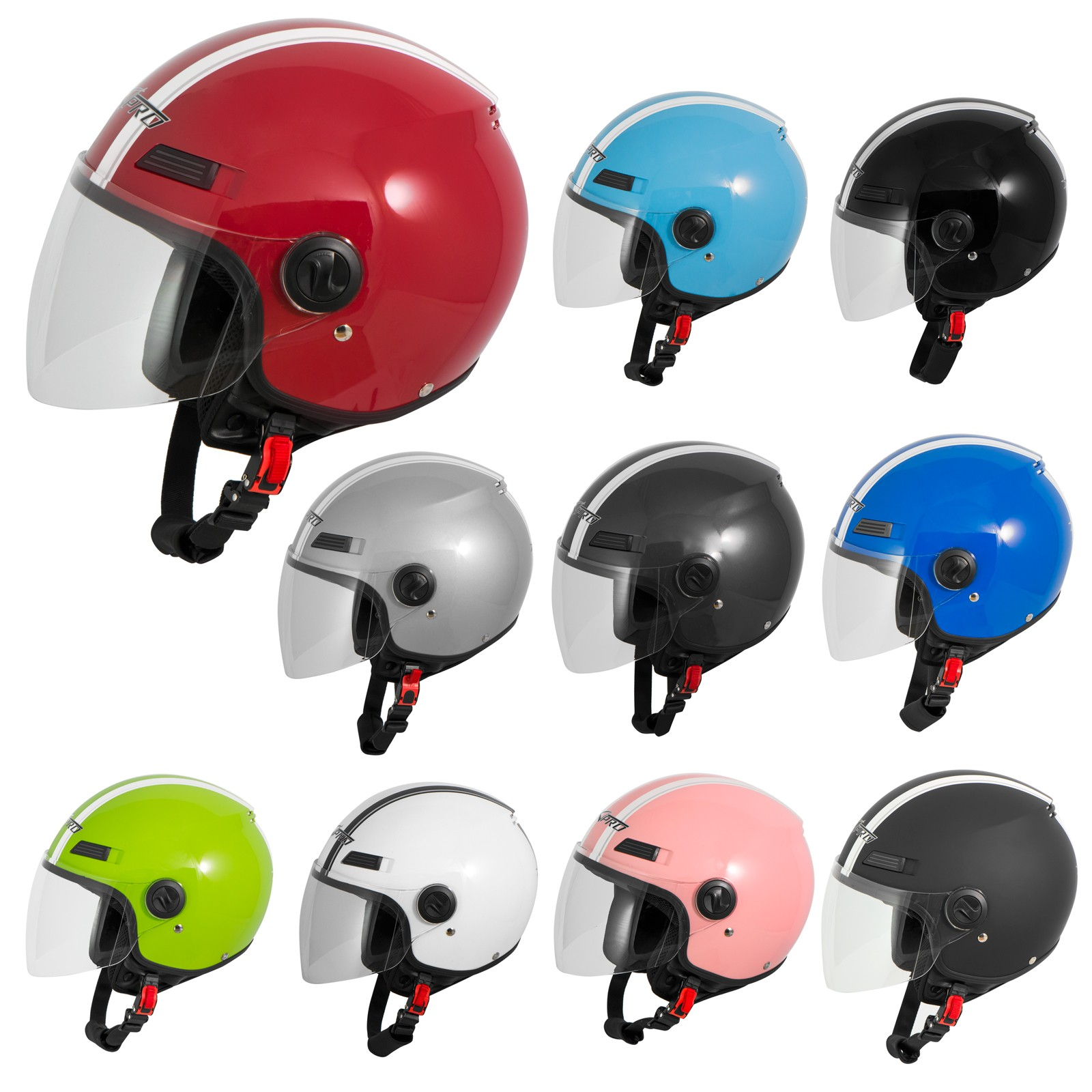 Motorradhelm Motorrad Roller Jet Helm Demi Jet Scooter Schwarz S