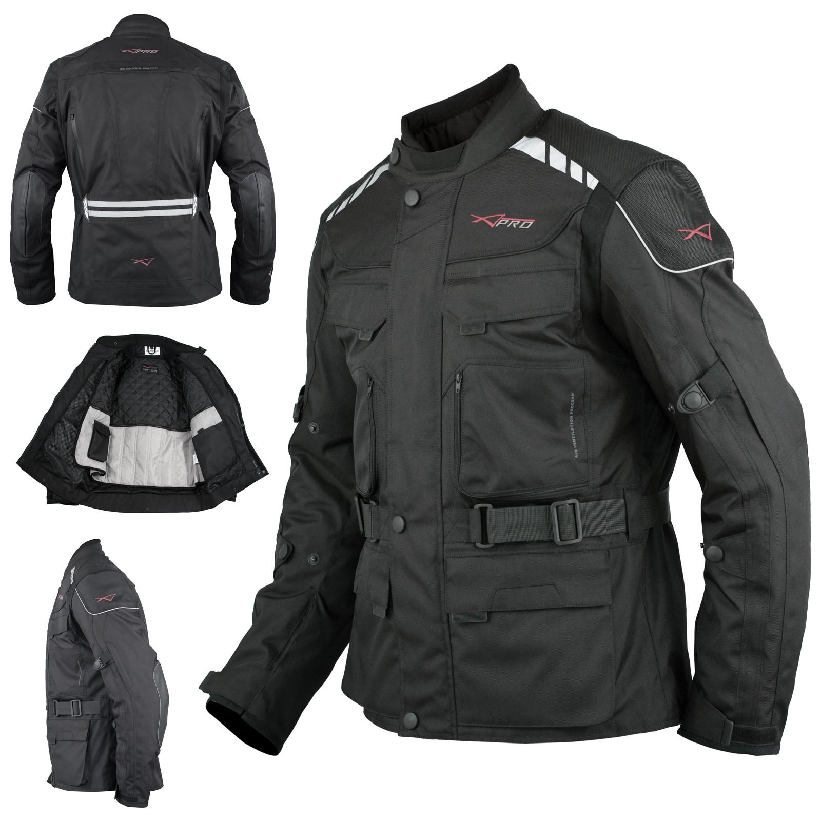 Motorradjacke Roller Textil Thermoweste Wasserdichte Touring Schwarz