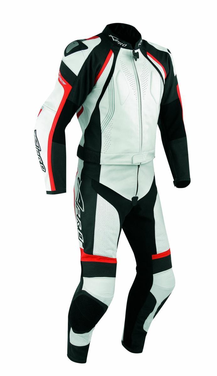 Tuta Pelle Moto Racing Pista Sport 2 Pezzi Divisibile Giacca Pantalone Rosso
