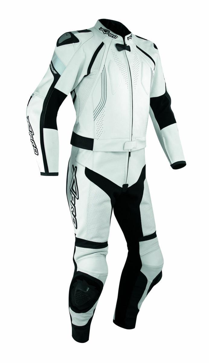 Tuta Pelle Moto Racing Pista Sport 2 Pezzi Divisibile Giacca Pantalone Bianco