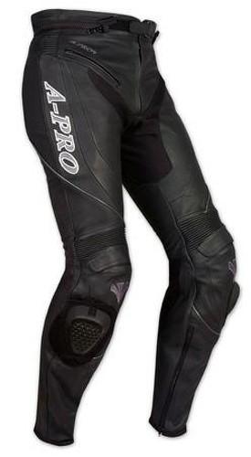 Pantaloni Racing Sport Pelle Moto Protezioni con Sliders Saponette Nero