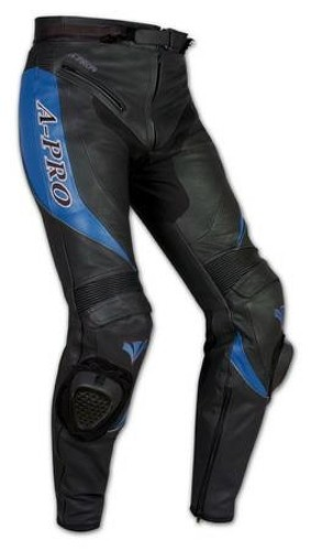 Pantaloni Racing Sport Pelle Moto Protezioni con Sliders Saponette Blue