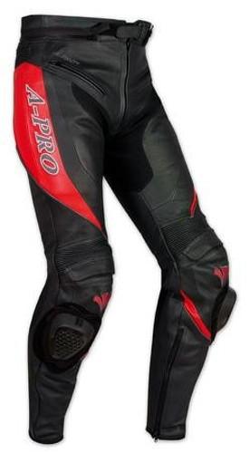 Pantaloni Racing Sport Pelle Moto Protezioni con Sliders Saponette Rosso
