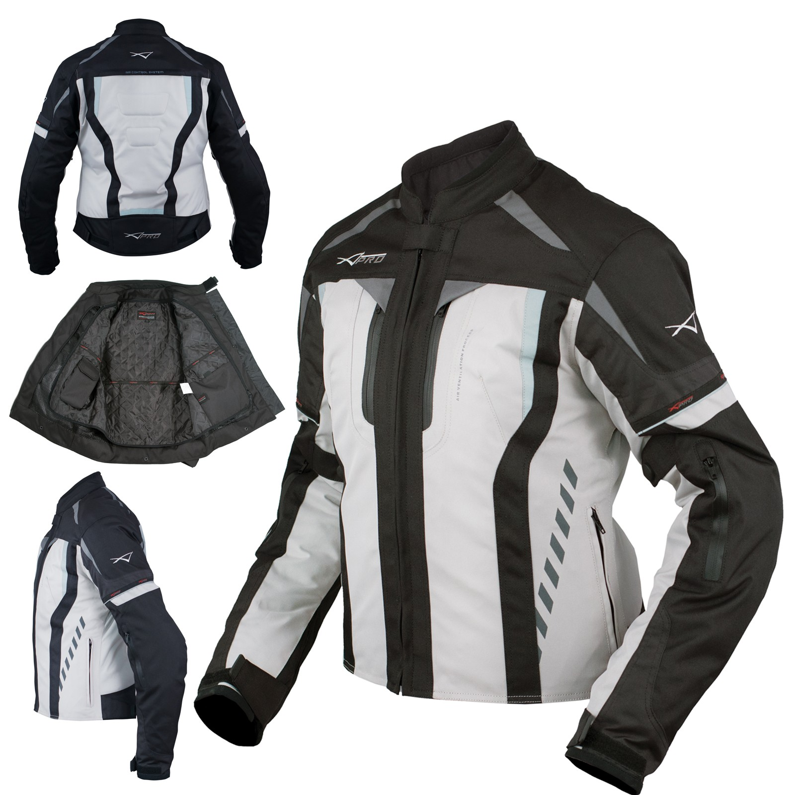 Giacca Donna Moto Ventilata Tessuto Protezioni CE Sport Grigio