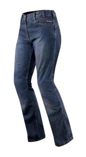 Jeans Donna Protezioni CE Ginocchio Pantaloni Lady Moto Scooter Custom Blu 38