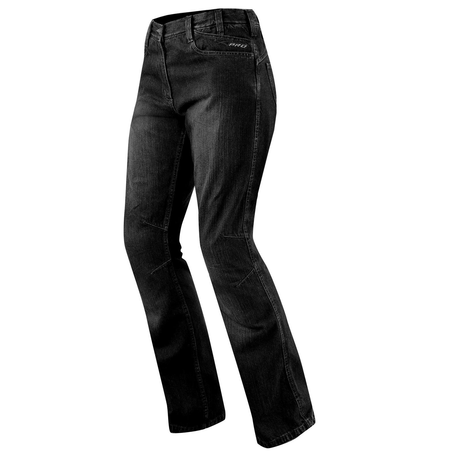 Jeans Donna Protezioni CE Ginocchio Pantaloni Lady Moto Scooter Custom Nero
